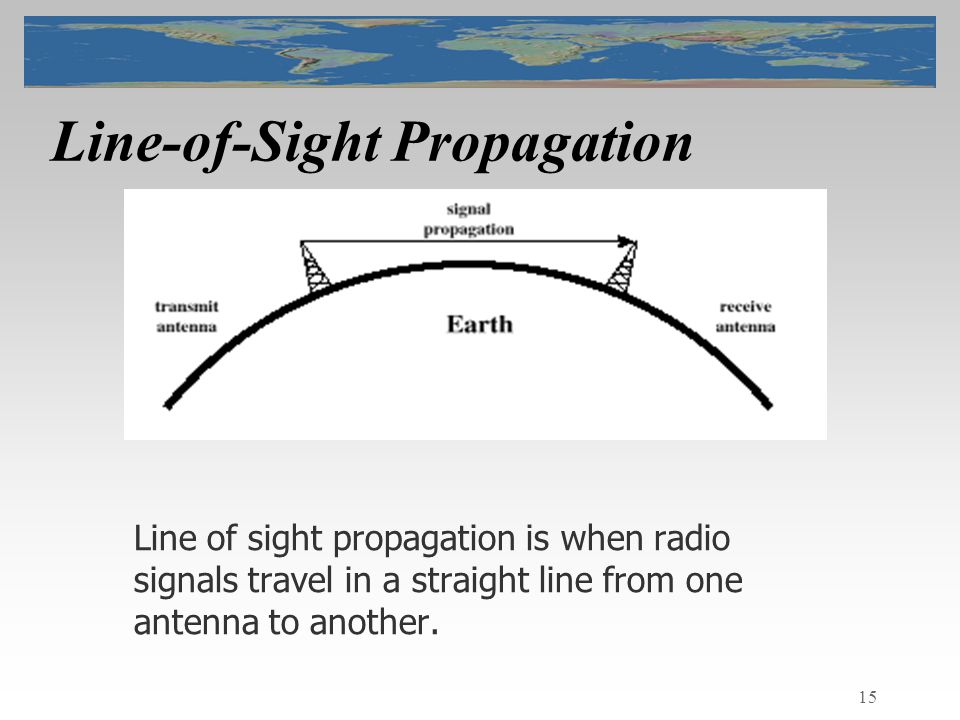 15 Line-of-Sight Propagation Line of sight propagation is when radio signals travel in a straight line from one antenna to another.