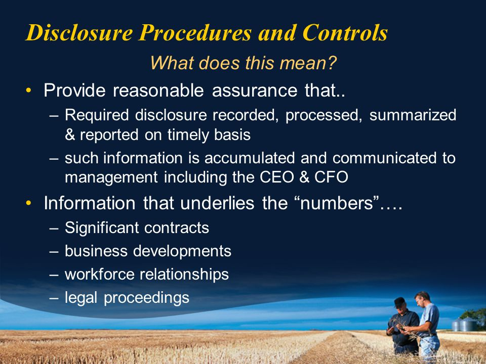 Disclosure Procedures and Controls What does this mean.