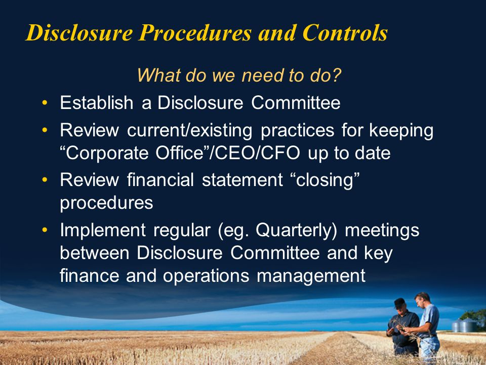 Disclosure Procedures and Controls What do we need to do.