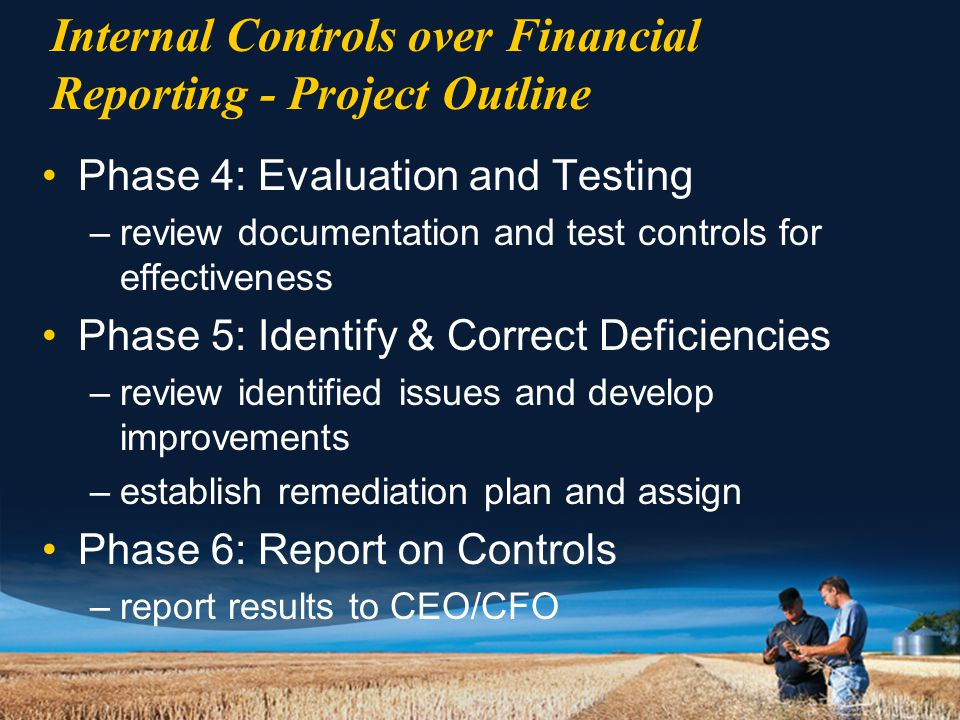 Internal Controls over Financial Reporting - Project Outline Phase 4: Evaluation and Testing –review documentation and test controls for effectiveness Phase 5: Identify & Correct Deficiencies –review identified issues and develop improvements –establish remediation plan and assign Phase 6: Report on Controls –report results to CEO/CFO
