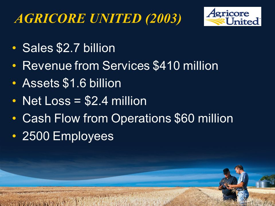 AGRICORE UNITED (2003) Sales $2.7 billion Revenue from Services $410 million Assets $1.6 billion Net Loss = $2.4 million Cash Flow from Operations $60 million 2500 Employees