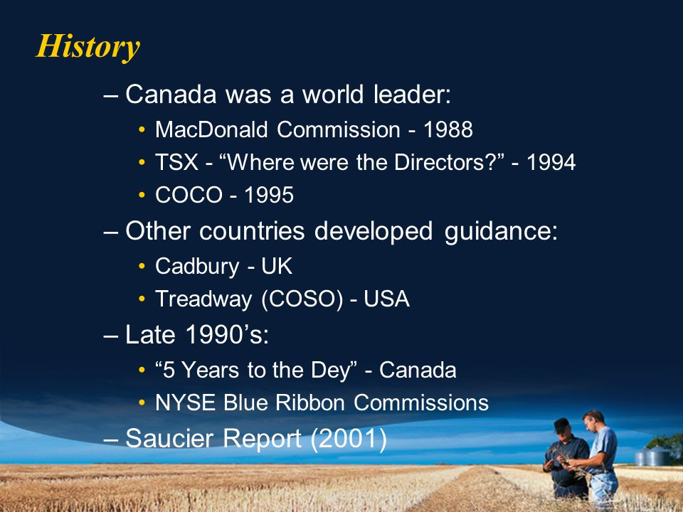 History –Canada was a world leader: MacDonald Commission - 1988 TSX - Where were the Directors? - 1994 COCO - 1995 –Other countries developed guidance: Cadbury - UK Treadway (COSO) - USA –Late 1990's: 5 Years to the Dey - Canada NYSE Blue Ribbon Commissions –Saucier Report (2001)