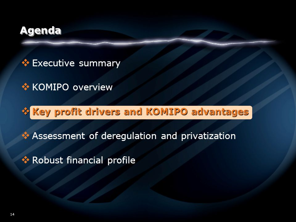W02/5517 14 Agenda  Executive summary  KOMIPO overview  Key profit drivers and KOMIPO advantages  Assessment of deregulation and privatization  R