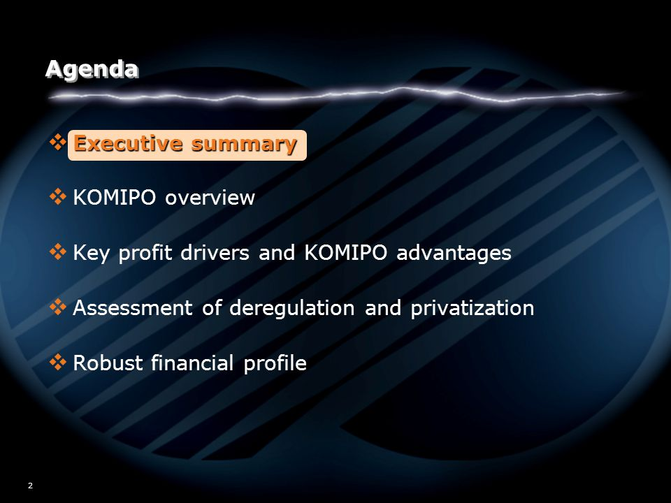W02/5517 2 Agenda  Executive summary  KOMIPO overview  Key profit drivers and KOMIPO advantages  Assessment of deregulation and privatization  Robust financial profile
