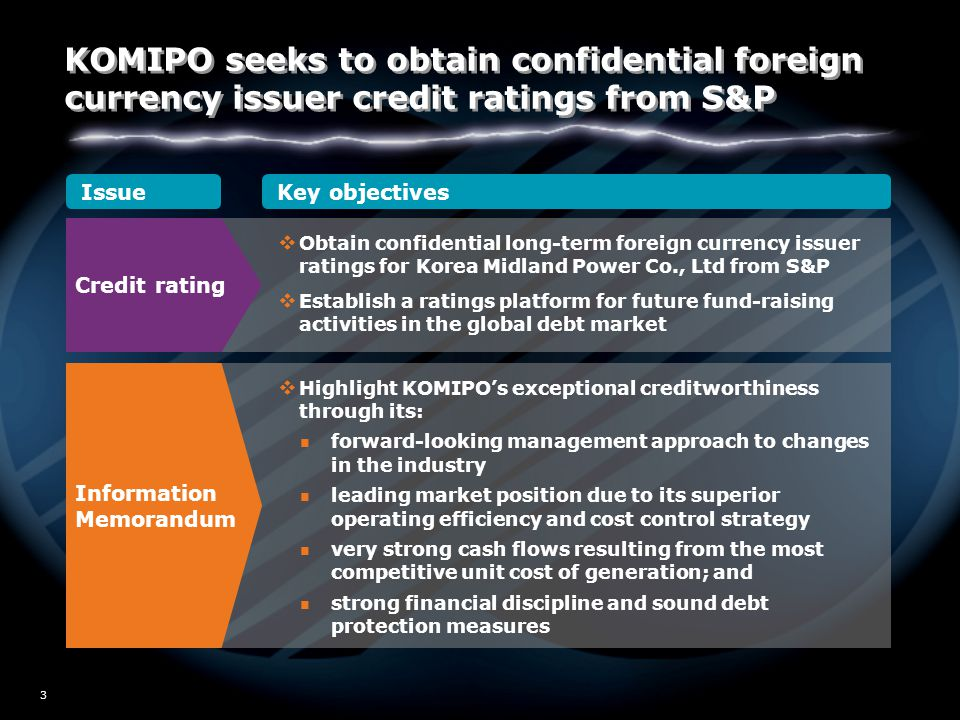 W02/5517 3 IssueKey objectives Credit rating  Obtain confidential long-term foreign currency issuer ratings for Korea Midland Power Co., Ltd from S&P