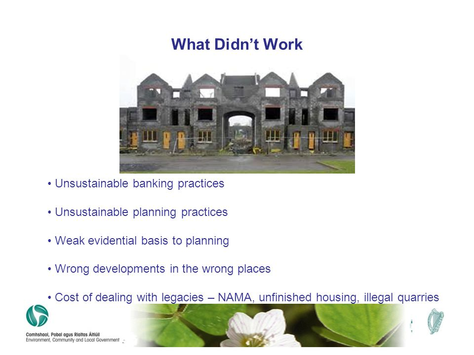 What Didn't Work Unsustainable banking practices Unsustainable planning practices Weak evidential basis to planning Wrong developments in the wrong pl