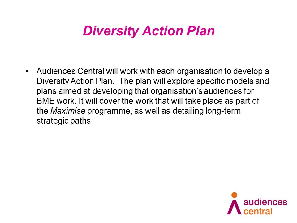 Diversity Action Plan Audiences Central will work with each organisation to develop a Diversity Action Plan.