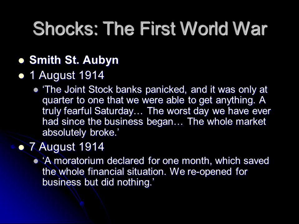 Shocks: The First World War Smith St. Aubyn Smith St.