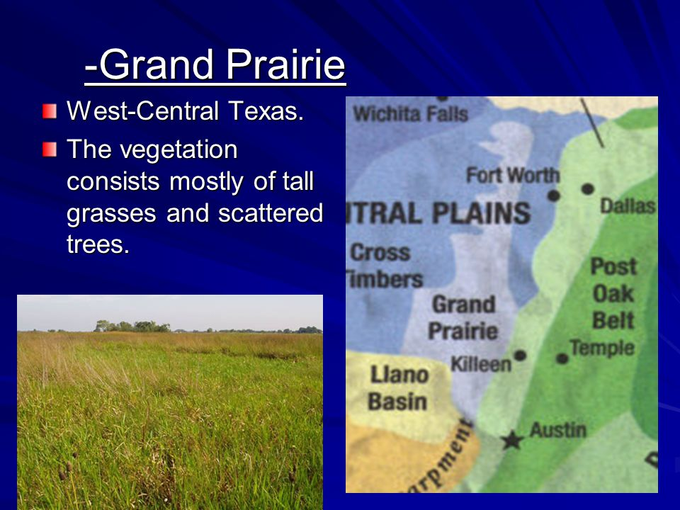 -Grand Prairie West-Central Texas. The vegetation consists mostly of tall grasses and scattered trees.