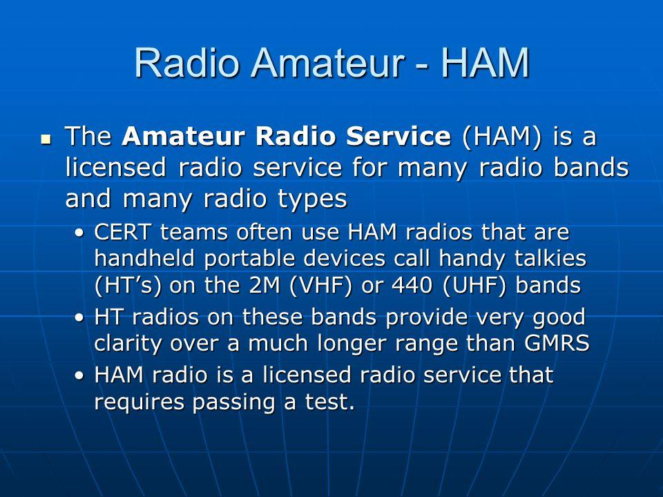Radio Amateur - HAM The Amateur Radio Service (HAM) is a licensed radio service for many radio bands and many radio types The Amateur Radio Service (H