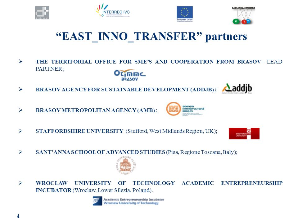 4 EAST_INNO_TRANSFER partners  THE TERRITORIAL OFFICE FOR SME'S AND COOPERATION FROM BRASOV– LEAD PARTNER ;  BRASOV AGENCY FOR SUSTAINABLE DEVELOPMENT (ADDJB) ;  BRASOV METROPOLITAN AGENCY (AMB) ;  STAFFORDSHIRE UNIVERSITY (Stafford, West Midlands Region, UK);  SANT ANNA SCHOOL OF ADVANCED STUDIES (Pisa, Regione Toscana, Italy);  WROCLAW UNIVERSITY OF TECHNOLOGY ACADEMIC ENTREPRENEURSHIP INCUBATOR (Wroclaw, Lower Silezia, Poland).