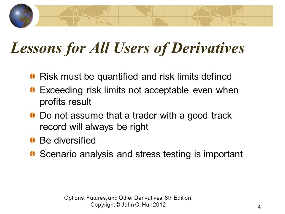 Lessons for All Users of Derivatives Risk must be quantified and risk limits defined Exceeding risk limits not acceptable even when profits result Do