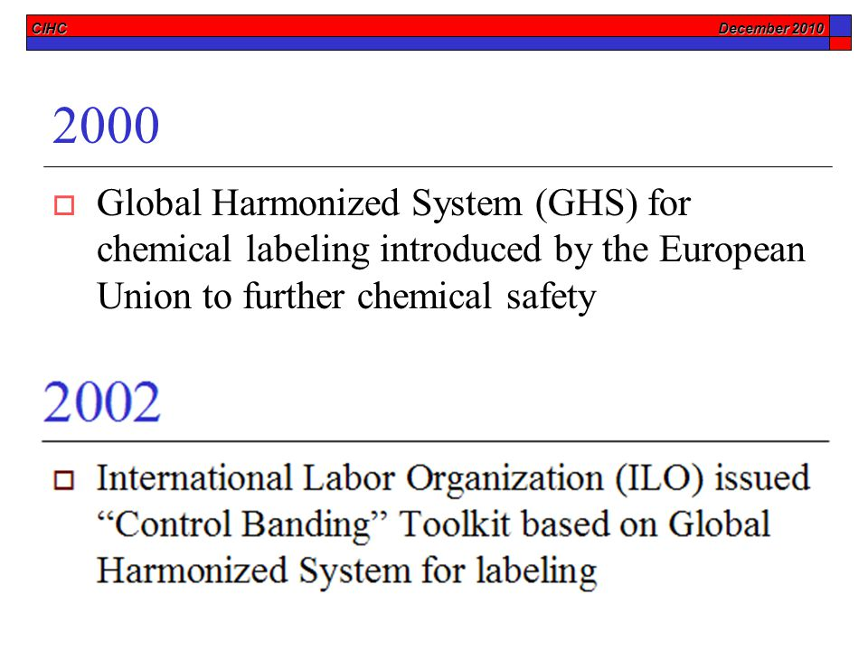 CIHC December 2010 2000  Global Harmonized System (GHS) for chemical labeling introduced by the European Union to further chemical safety