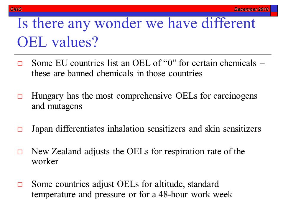 CIHC December 2010 Is there any wonder we have different OEL values.