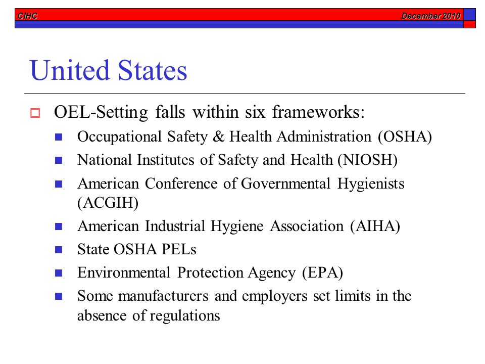 CIHC December 2010 United States  OEL-Setting falls within six frameworks: Occupational Safety & Health Administration (OSHA) National Institutes of Safety and Health (NIOSH) American Conference of Governmental Hygienists (ACGIH) American Industrial Hygiene Association (AIHA) State OSHA PELs Environmental Protection Agency (EPA) Some manufacturers and employers set limits in the absence of regulations