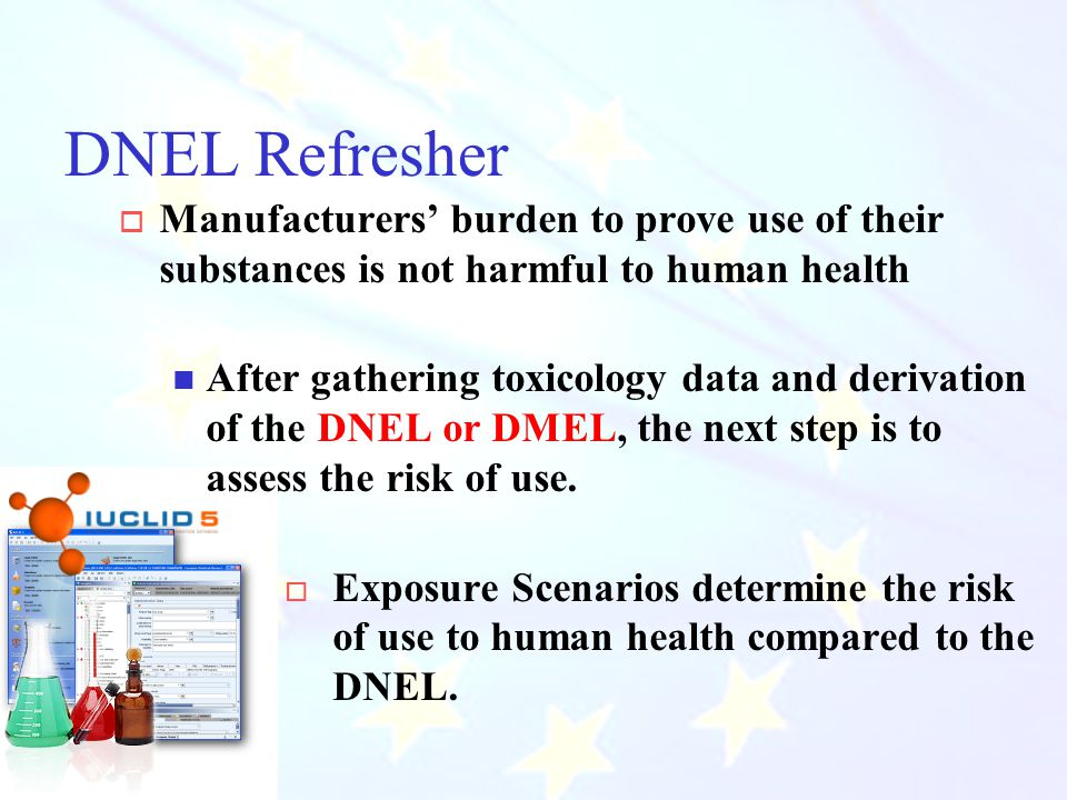 CIHC December 2010 DNEL Refresher  Manufacturers' burden to prove use of their substances is not harmful to human health After gathering toxicology data and derivation of the DNEL or DMEL, the next step is to assess the risk of use.