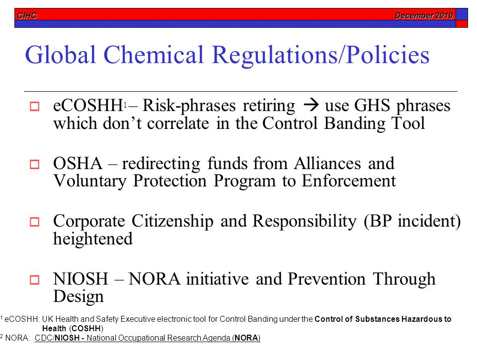 CIHC December 2010 Help on the Horizon:  Nanomaterials – Control Bands & Measurement Techniques  Globally Harmonized System for MSDSs  Prevention Through Design  Injury Illness Prevention Programs (I2P2)  Increased OSHA Enforcement and Increased Fines  REACh Derived No Effect Levels (DNELs) as de facto OELs  Hazard Bands and Control Bands