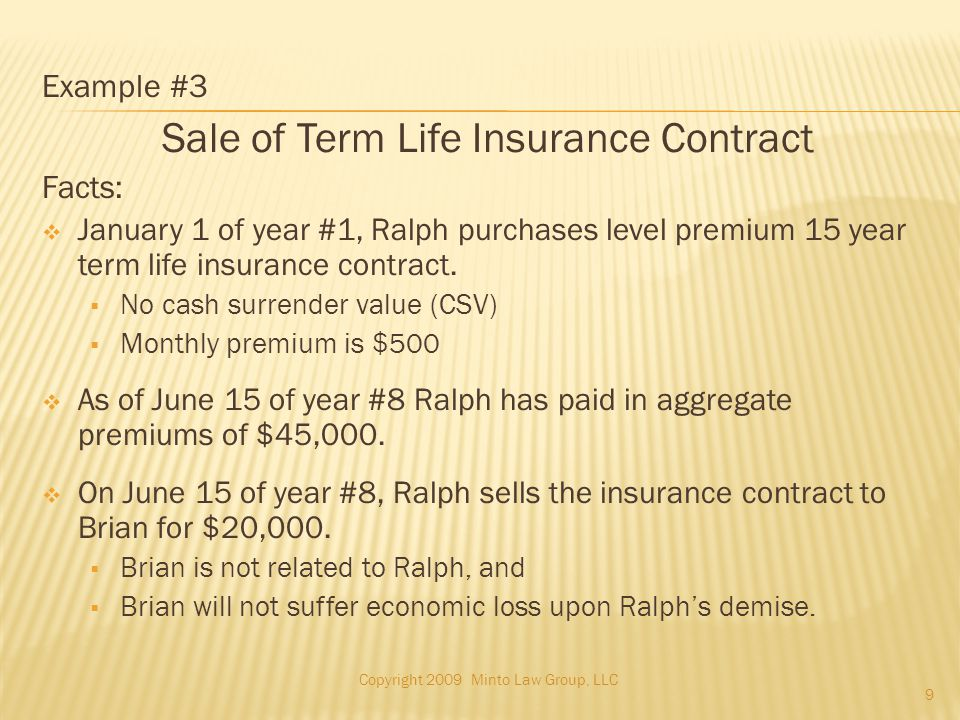 Example #3 Sale of Term Life Insurance Contract Facts:  January 1 of year #1, Ralph purchases level premium 15 year term life insurance contract.