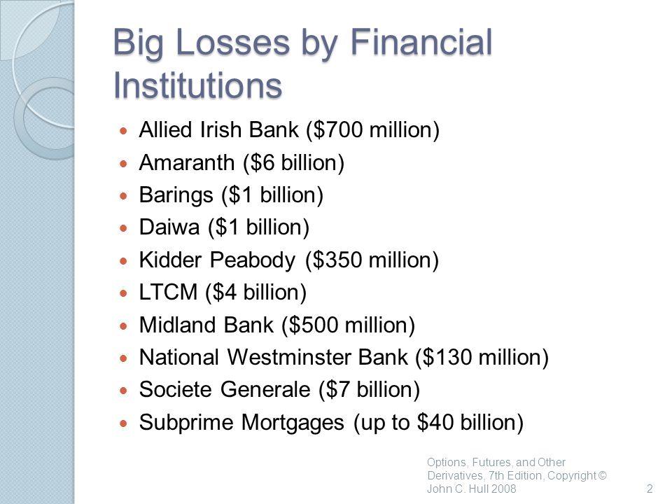 2 Big Losses by Financial Institutions Allied Irish Bank ($700 million) Amaranth ($6 billion) Barings ($1 billion) Daiwa ($1 billion) Kidder Peabody ($350 million) LTCM ($4 billion) Midland Bank ($500 million) National Westminster Bank ($130 million) Societe Generale ($7 billion) Subprime Mortgages (up to $40 billion)