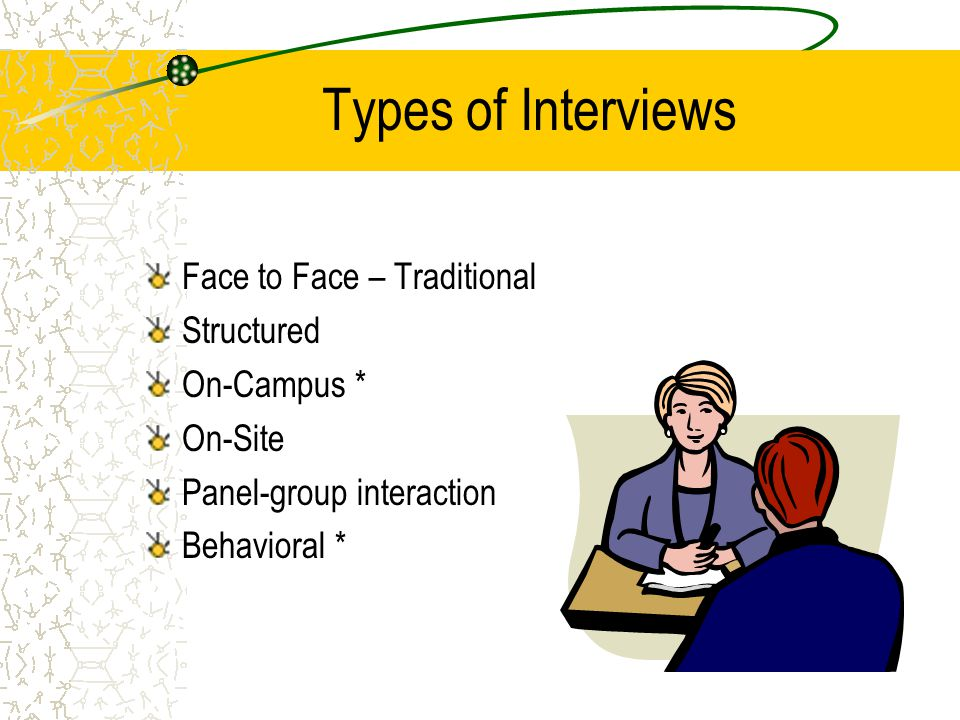 Types of Interviews Face to Face – Traditional Structured On-Campus * On-Site Panel-group interaction Behavioral *