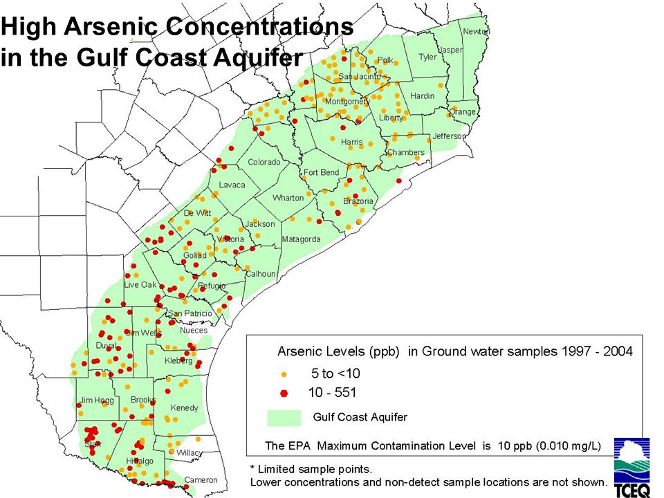 High Arsenic Concentrations in the Gulf Coast Aquifer