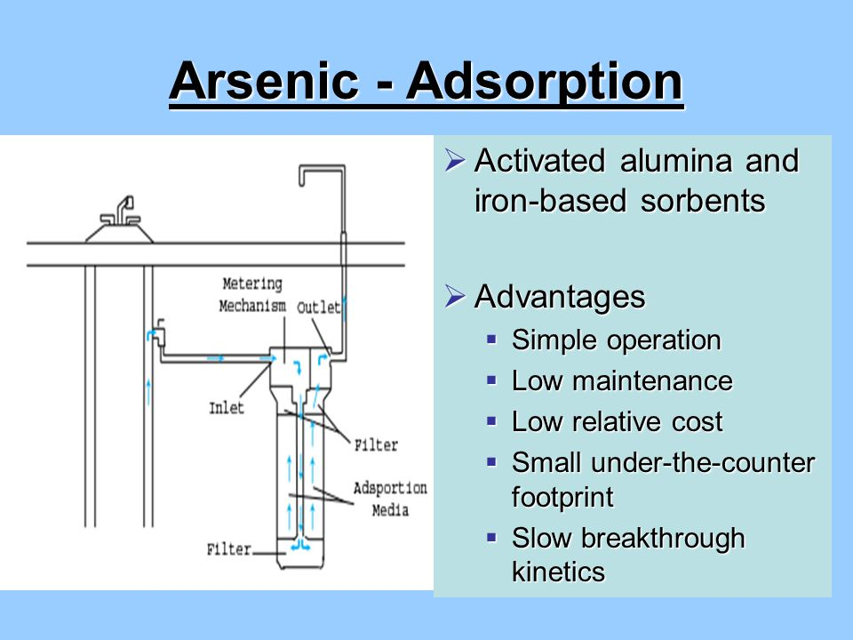 Arsenic - Adsorption  Activated alumina and iron-based sorbents  Advantages  Simple operation  Low maintenance  Low relative cost  Small under-the-counter footprint  Slow breakthrough kinetics