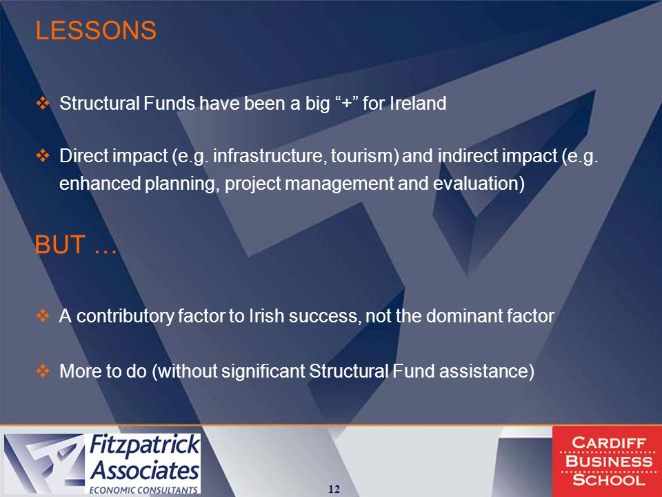 LESSONS  Structural Funds have been a big + for Ireland  Direct impact (e.g.