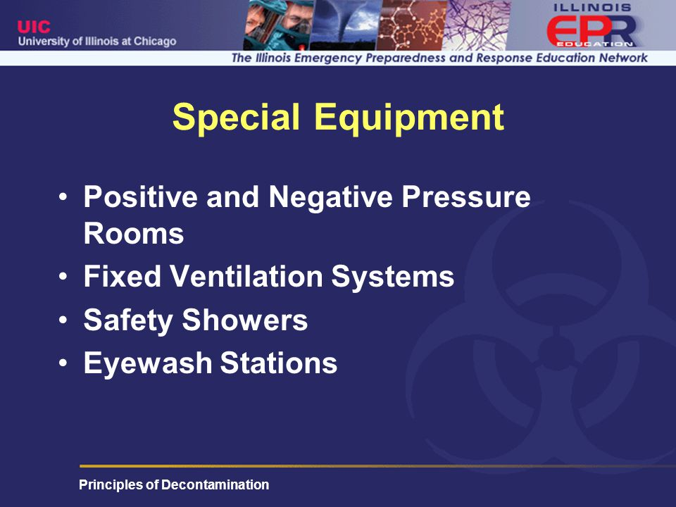 Principles of Decontamination Special Equipment Positive and Negative Pressure Rooms Fixed Ventilation Systems Safety Showers Eyewash Stations