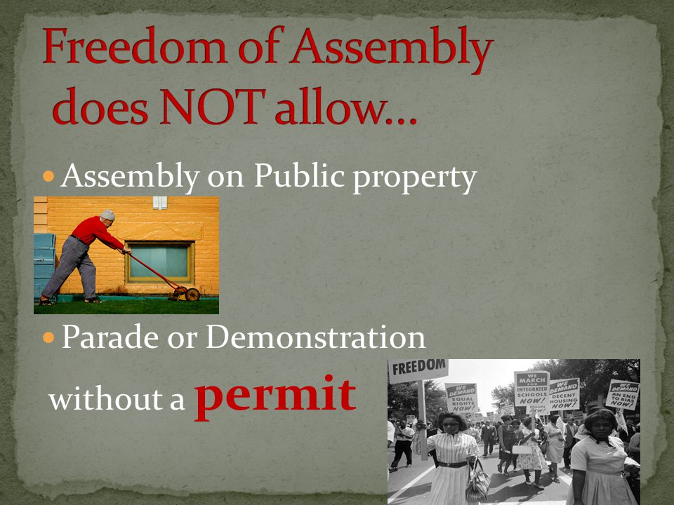 Assembly on Public property Parade or Demonstration without a permit