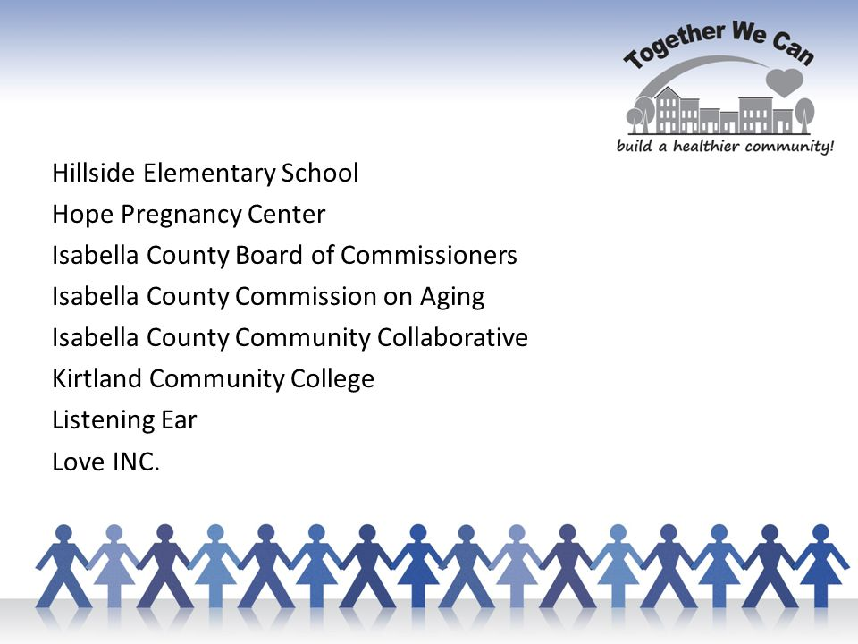 Hillside Elementary School Hope Pregnancy Center Isabella County Board of Commissioners Isabella County Commission on Aging Isabella County Community Collaborative Kirtland Community College Listening Ear Love INC.
