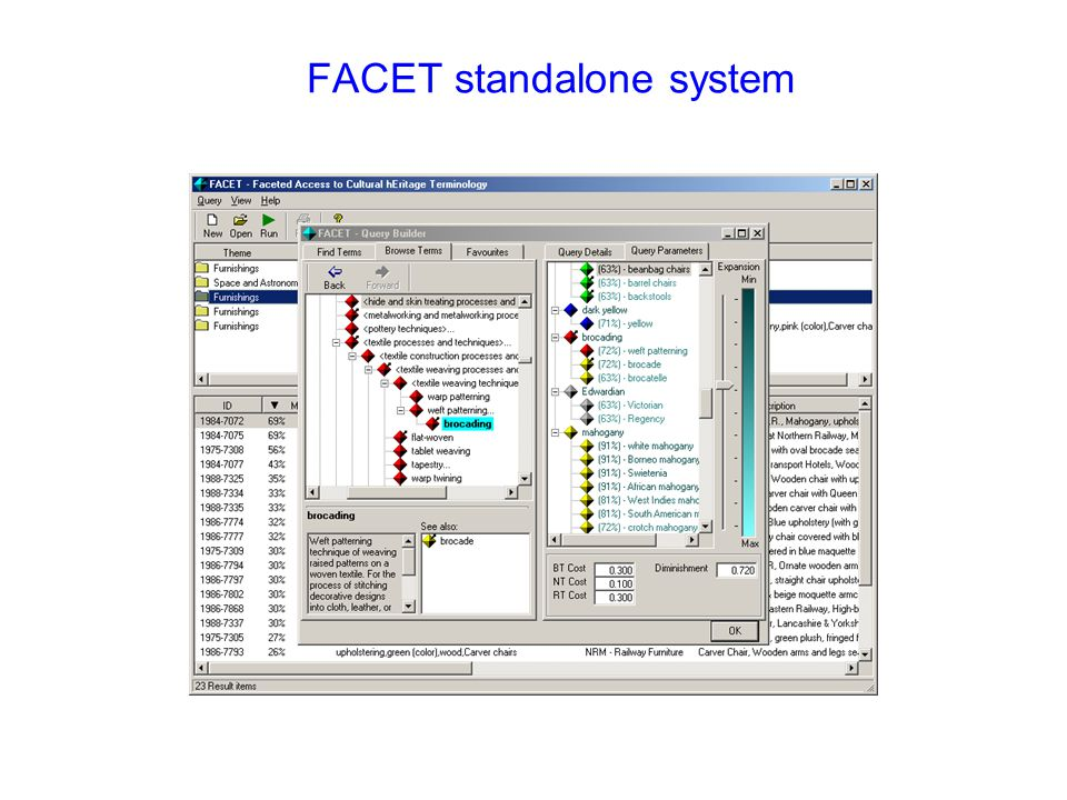 FACET standalone system http://www.comp.glam.ac.uk/~facet/webdemo/ dstudhope@glam.ac.uk