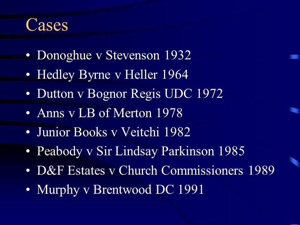 Cases Donoghue v Stevenson 1932 Hedley Byrne v Heller 1964 Dutton v Bognor Regis UDC 1972 Anns v LB of Merton 1978 Junior Books v Veitchi 1982 Peabody v Sir Lindsay Parkinson 1985 D&F Estates v Church Commissioners 1989 Murphy v Brentwood DC 1991