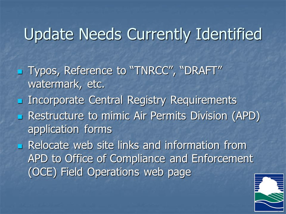 Update Needs Currently Identified Typos, Reference to TNRCC , DRAFT watermark, etc.
