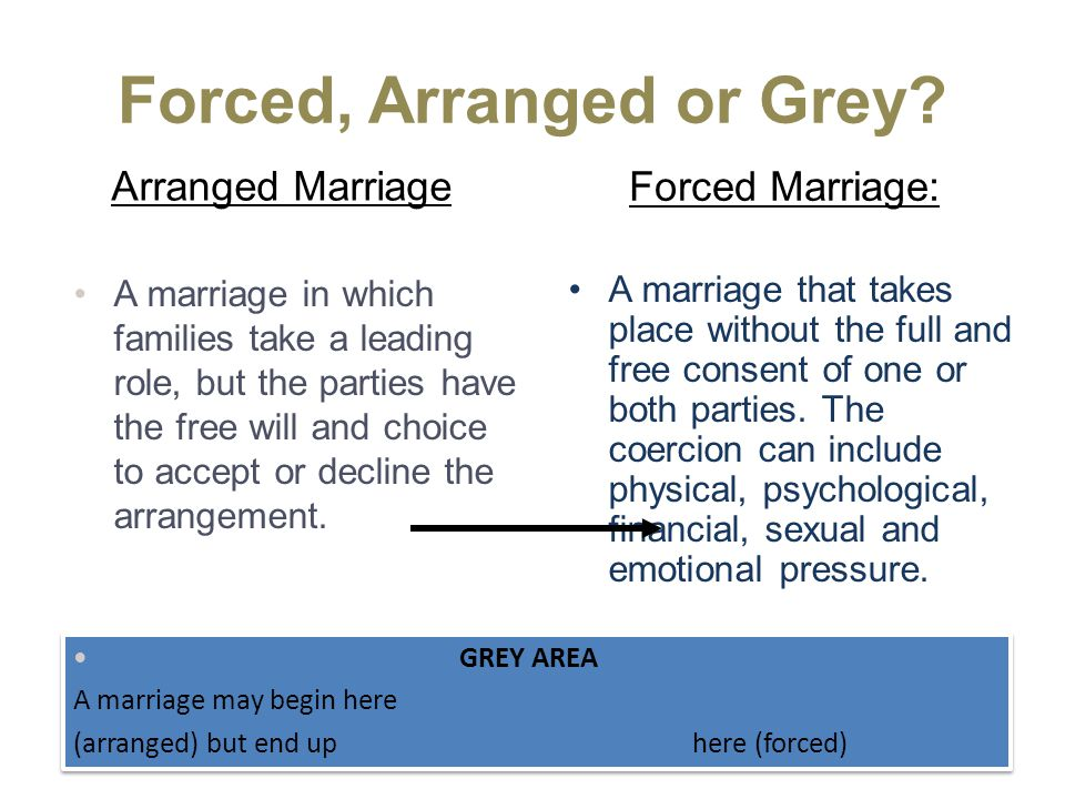 Forced Marriage: Arranged Marriage A marriage that takes place without the full and free consent of one or both parties.