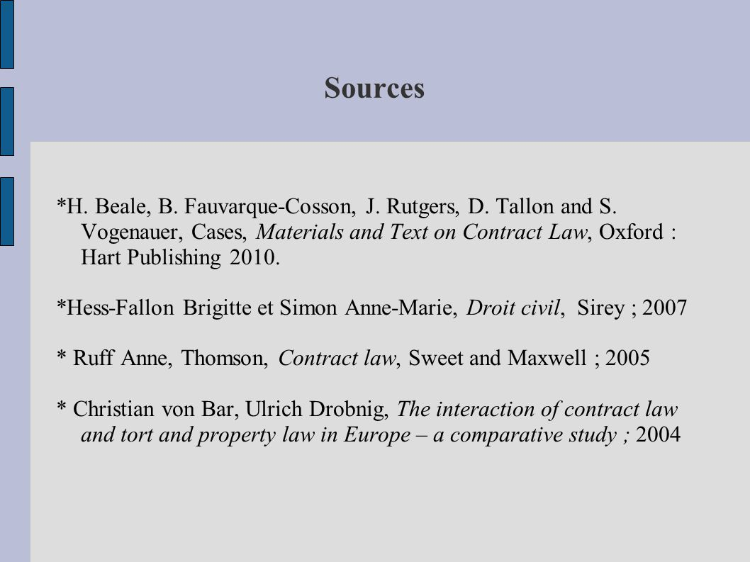 Sources *H. Beale, B. Fauvarque-Cosson, J. Rutgers, D. Tallon and S. Vogenauer, Cases, Materials and Text on Contract Law, Oxford : Hart Publishing 20