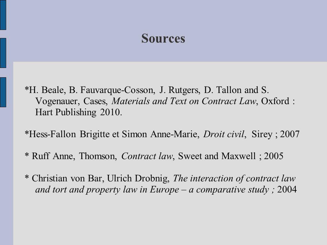 Sources *H. Beale, B. Fauvarque-Cosson, J. Rutgers, D.