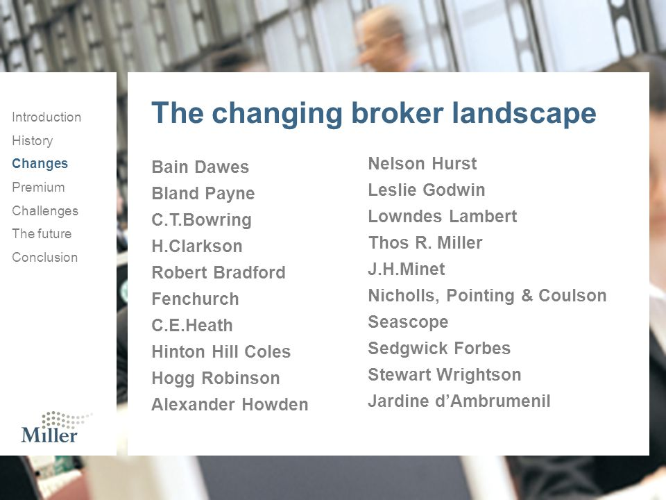 The changing broker landscape Introduction History Changes Premium Challenges The future Conclusion Bain Dawes Bland Payne C.T.Bowring H.Clarkson Robe
