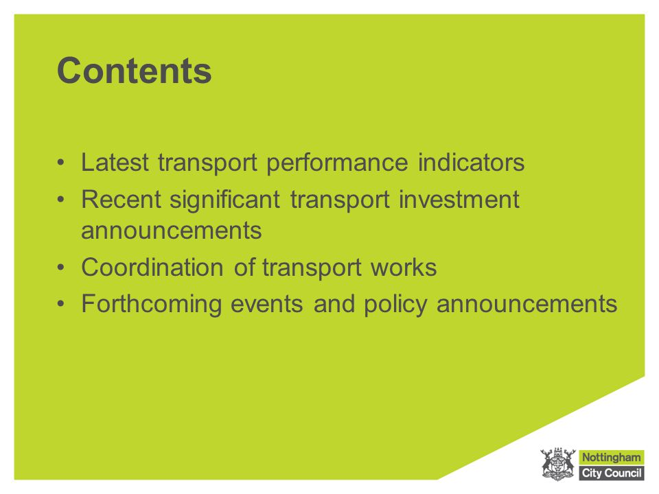 Performance Update Local Transport Plan 2 Delivery Report Five year review 2006 to 2011 Local Transport Plan Delivery Report First year progress Apr 2011 to Mar 2012 Available at: www.mynottingham.gov.uk/ltp3www.mynottingham.gov.uk/ltp3