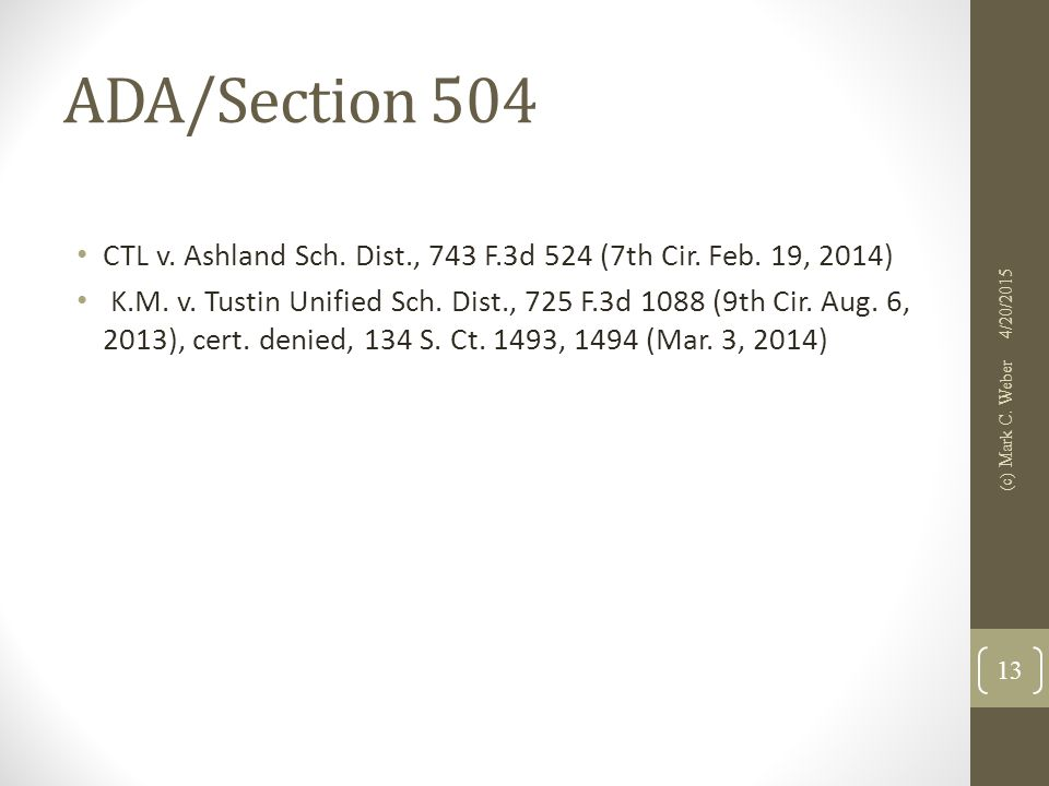 ADA/Section 504 CTL v. Ashland Sch. Dist., 743 F.3d 524 (7th Cir.