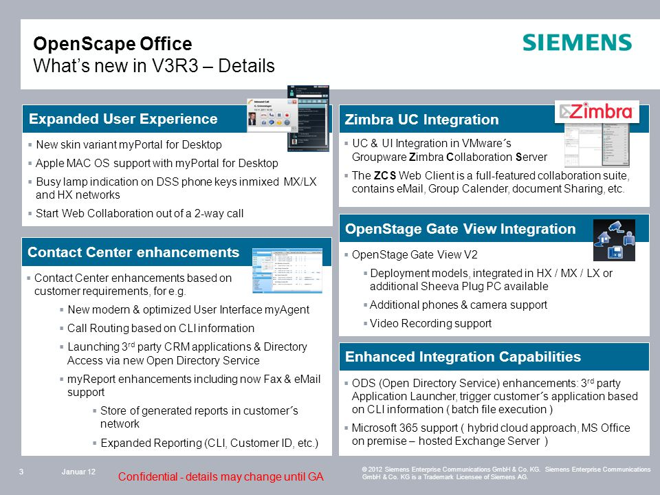 Confidential - details may change until GA OpenScape Office What's new in V3R3 – Details Januar 123 © 2012 Siemens Enterprise Communications GmbH & Co.