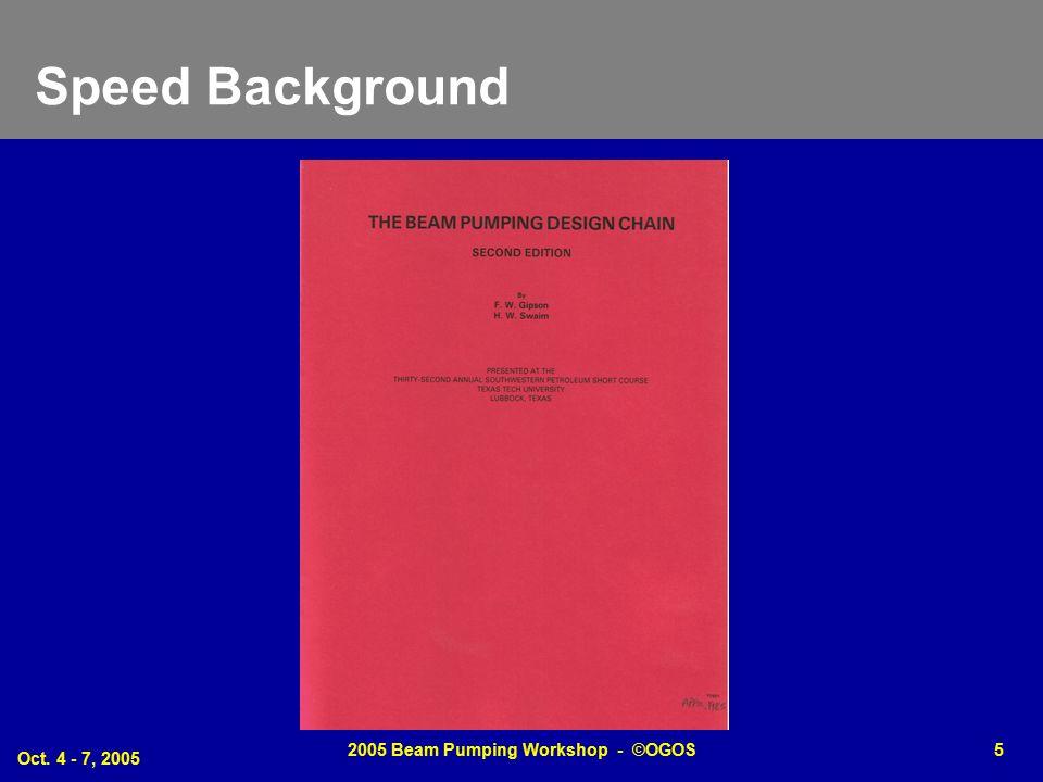 Oct. 4 - 7, 2005 2005 Beam Pumping Workshop - ©OGOS5 Speed Background