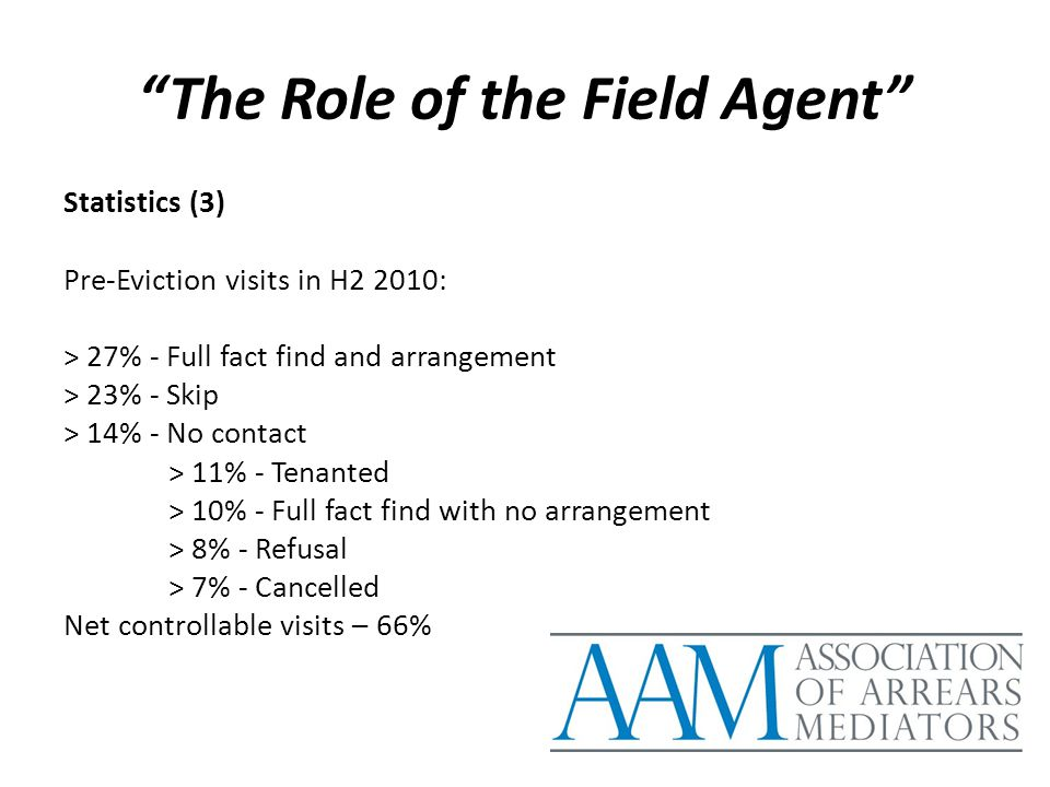 """The Role of the Field Agent"" Statistics (3) Pre-Eviction visits in H2 2010: > 27% - Full fact find and arrangement > 23% - Skip > 14% - No contact >"