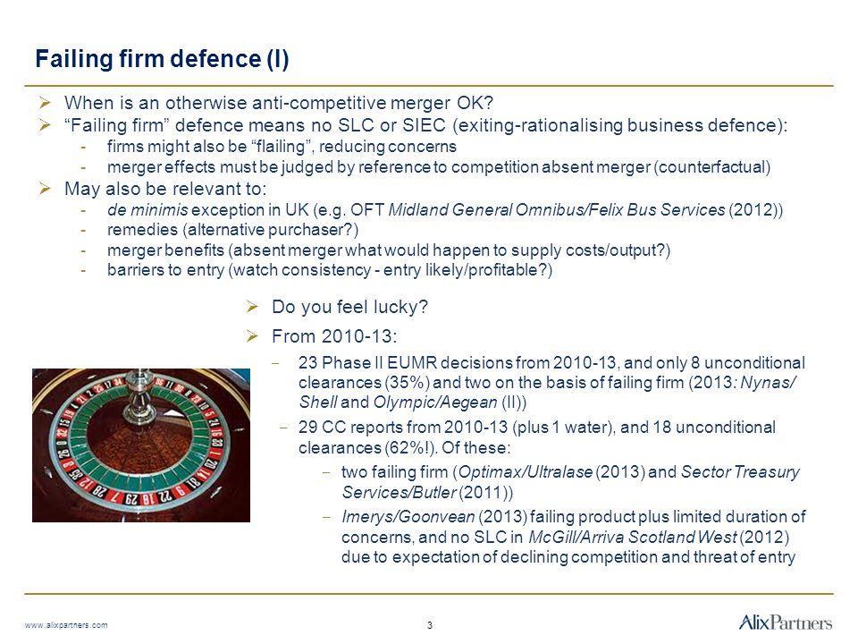 Failing firm defence (II) www.alixpartners.com 4  Criteria  Surprise.