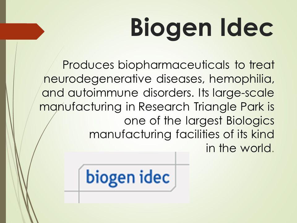 Biogen Idec Produces biopharmaceuticals to treat neurodegenerative diseases, hemophilia, and autoimmune disorders. Its large-scale manufacturing in Re