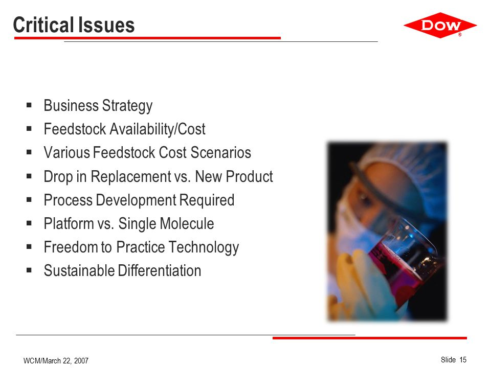 ® Slide 15 WCM/March 22, 2007 Critical Issues  Business Strategy  Feedstock Availability/Cost  Various Feedstock Cost Scenarios  Drop in Replacement vs.