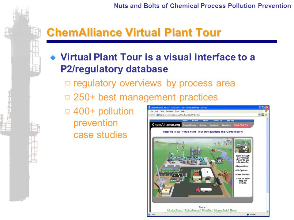 Nuts and Bolts of Chemical Process Pollution Prevention ChemAlliance Virtual Plant Tour  Virtual Plant Tour is a visual interface to a P2/regulatory database : regulatory overviews by process area : 250+ best management practices : 400+ pollution prevention case studies