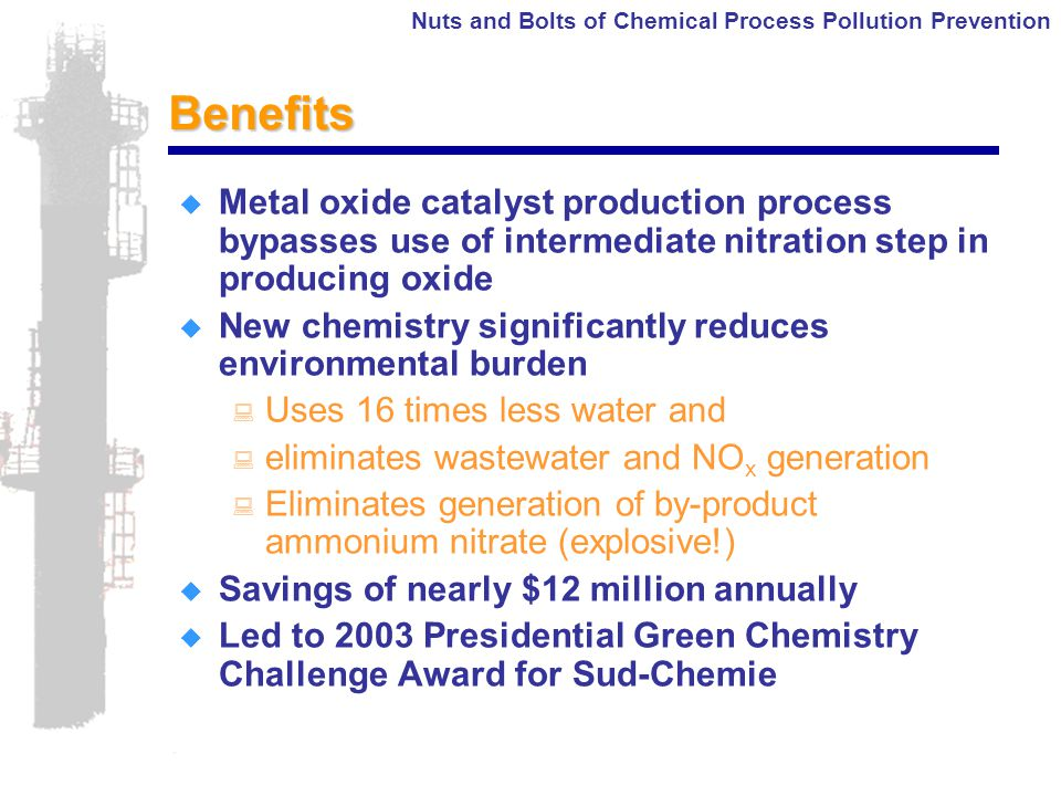 Nuts and Bolts of Chemical Process Pollution PreventionBenefits  Metal oxide catalyst production process bypasses use of intermediate nitration step in producing oxide  New chemistry significantly reduces environmental burden : Uses 16 times less water and : eliminates wastewater and NO x generation : Eliminates generation of by-product ammonium nitrate (explosive!)  Savings of nearly $12 million annually  Led to 2003 Presidential Green Chemistry Challenge Award for Sud-Chemie