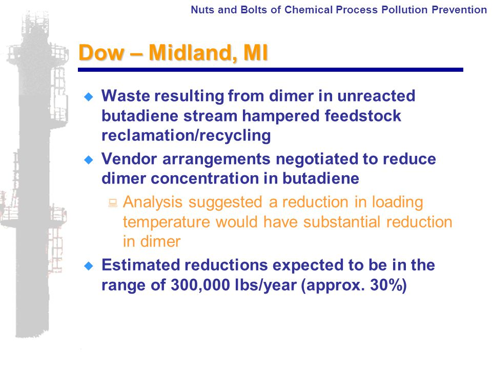 Nuts and Bolts of Chemical Process Pollution Prevention Dow – Midland, MI  Waste resulting from dimer in unreacted butadiene stream hampered feedstock reclamation/recycling  Vendor arrangements negotiated to reduce dimer concentration in butadiene : Analysis suggested a reduction in loading temperature would have substantial reduction in dimer  Estimated reductions expected to be in the range of 300,000 lbs/year (approx.
