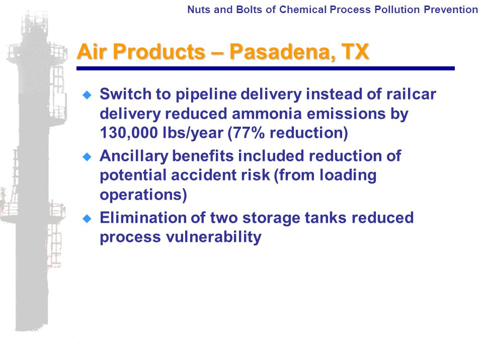Nuts and Bolts of Chemical Process Pollution Prevention Air Products – Pasadena, TX  Switch to pipeline delivery instead of railcar delivery reduced ammonia emissions by 130,000 lbs/year (77% reduction)  Ancillary benefits included reduction of potential accident risk (from loading operations)  Elimination of two storage tanks reduced process vulnerability