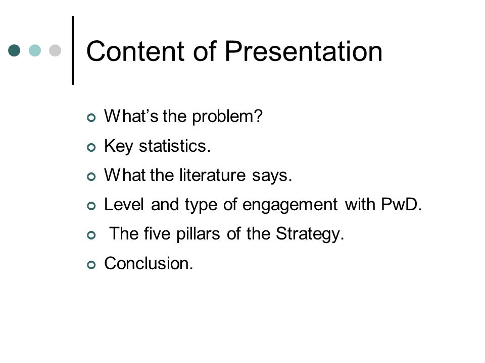Content of Presentation What's the problem. Key statistics.